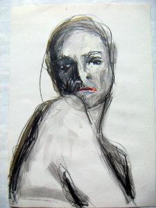 """Bild 2 aus der Serie """"Blick über die Schulter"""", Mischtechnik"""