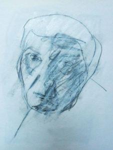 Skizze 3 zu Portrait »Svetlana«, Ölkreide