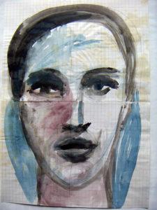 """Frauenportrait """"Schöne Unbekannte"""", Aquarellfarbe, von Eva Maria Rapp"""
