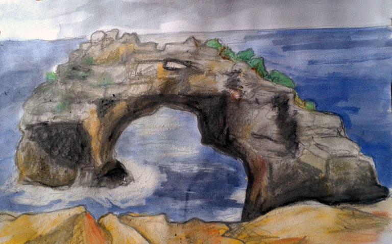 """Landschaftsaquarell """"Es Pontas"""", entstanden beim Malkurs-Ausflug"""