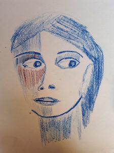 Frauenportrait mit Kreide