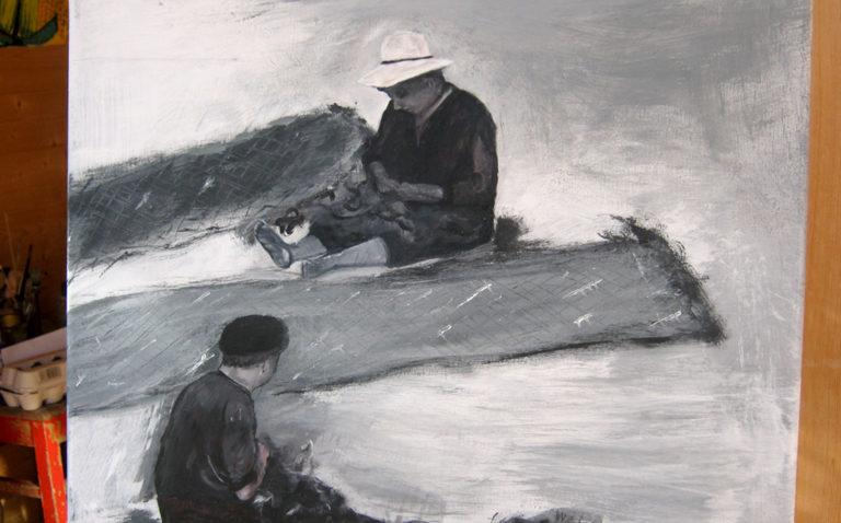 """Ölbild """"Fischer"""", entstanden im Kurs von Eva Maria Rapp"""