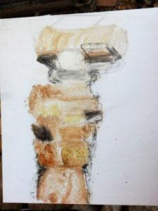 Zeichnung einer Skulptur von Rolf Schaffner, Bildhauer