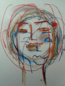Frauenportrait mit Kreide, frei, gestisch, findend gezeichnet
