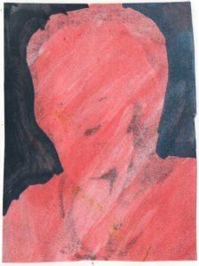 """""""Rotes Portrait vor Blau"""", Wasserfarbe"""