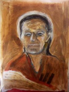 """Frauenportrait """"Tibeterin"""", Kreide, Erde und Wasserfarbe"""