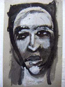 """Frauenportrait """"Monira"""", schwarz, grau, weiss, Mischtechnik"""