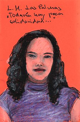 ARTEPostal Karte 0716-8, Mädchenportrait, Kreide auf rotem Papier