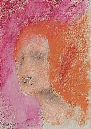 "ARTEPostal Karte 0119, ""Mädchenportrait Pink-Orange"", Ölkreide"