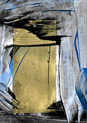 "ARTEPostal Karte 0120-2, ""Porta"", Collage, Mischtechnik"
