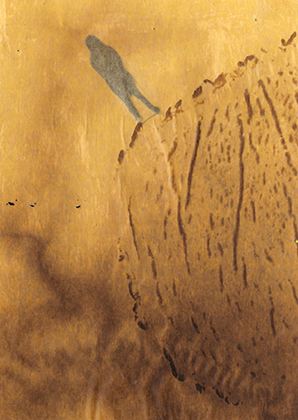 """ARTEPostal Karte 0121, """"Bergauf"""", Aschefarbe auf Backpapier"""