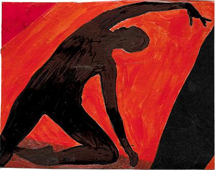 """ARTEPostal Karte 0320-4, """"Ballett-Tänzerin vor Rot"""", schwarzer Lack, Acryl"""
