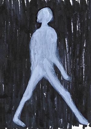 "ARTEPostal Karte 0618, ""Caminar"", Filzstift, Acryl"