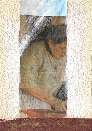 """ARTEPostal Karte 0621-1, """"Mujer Trabajanda"""", Collage mit weisser Farbe"""