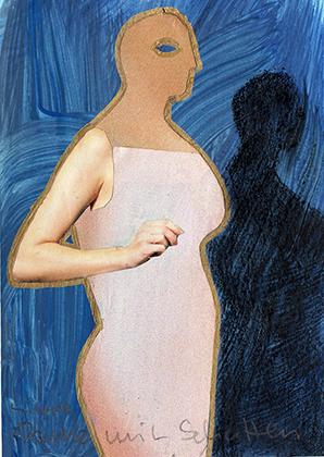 "ARTEPostal Karte 0712, ""Frau vor Blau"", Collage"
