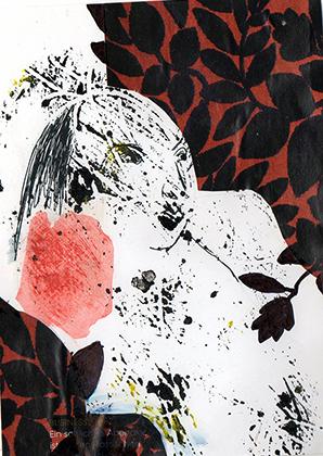 """ARTEPostal Karte 0819-8, """"Geisha"""", Collage, schwarze Tusche"""