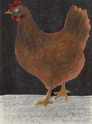 """ARTEPostal Karte 1020-2, """"Braunes Huhn"""", gut gelaunt, Wasserfarben"""