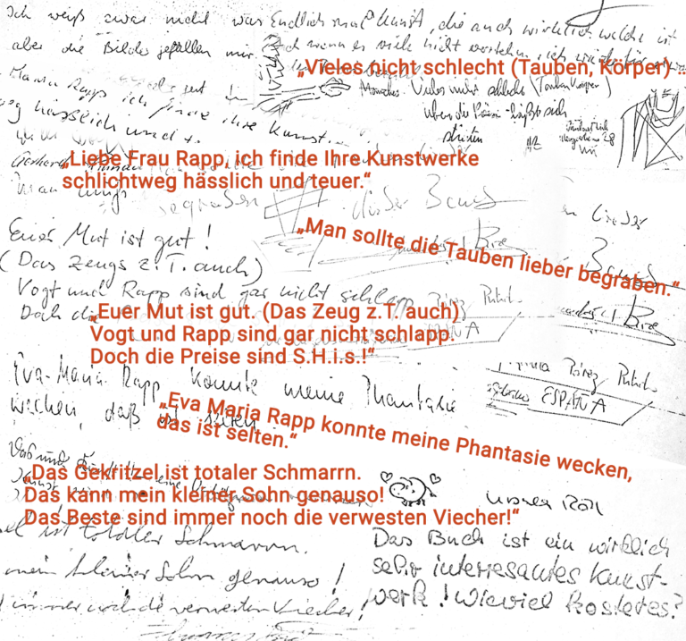 Kommentare aus dem BesucherInnen-Buch zur Objekt-Installation »amput«