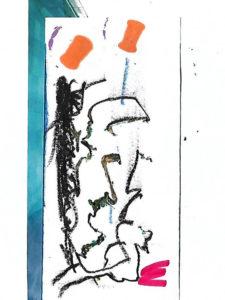 """Bild """"Abstrakt"""", Collage, Kreide, Filzstift"""