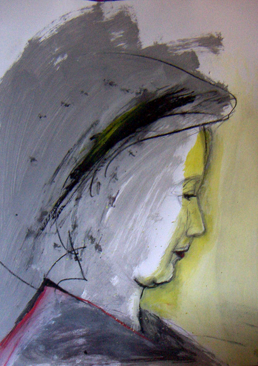 "Frauenportrait ""Perfil con Amarillo"", Mischtechnik mit Schwefel"