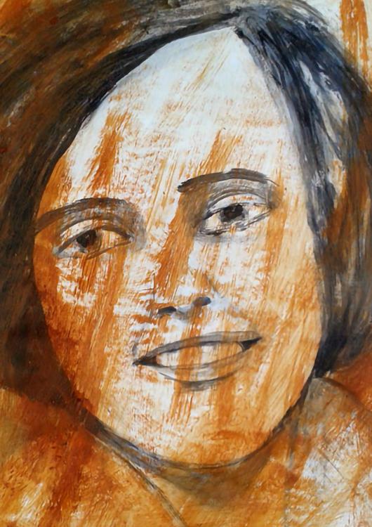 """Frauenportrait """"Aurora"""", Gouache, rote Erde"""