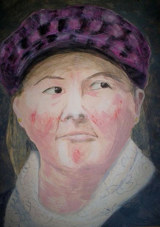 Frauenportrait »Linda«, Acryl