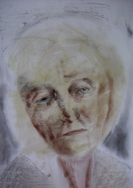 "Frauenportrait ""Memoria"", Pflanzen, Asche, Kohle, Erde"