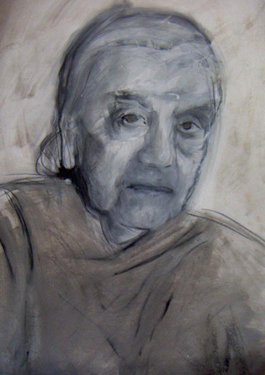 """Frauenportrait """"Mujer de Praha"""", Mischtechnik"""