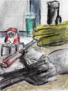 Stilleben mit Nikolaus, Ölkreide auf mit Text bedrucktem Papier