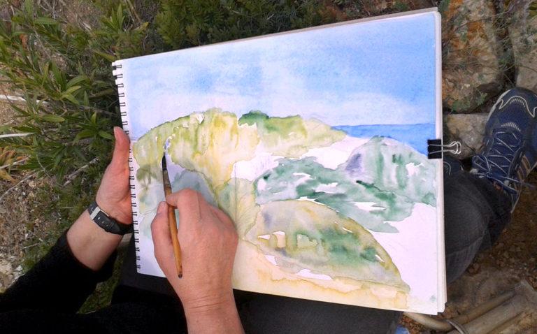 Landschaftsstudie mit Aquarell beim Malkurs-Ausflug ans Meer