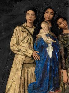 """""""Tres Mujeres con Virgin"""", Collage mit Schwarz, von Eva Maria Rapp"""