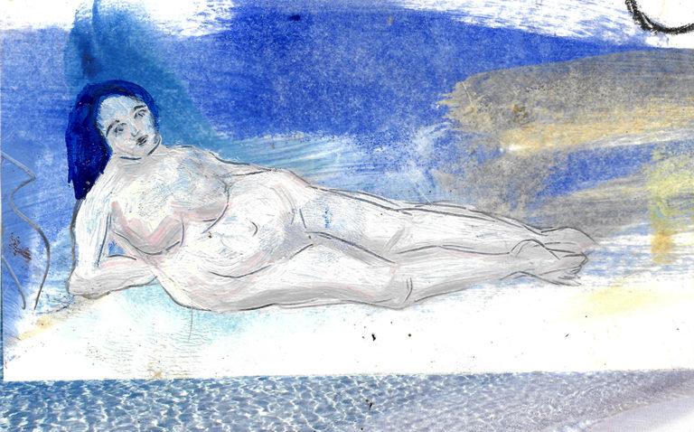"""Frauenakt """"Meerjungfrau"""", Collage, Mischtechnik, von Eva Maria Rapp"""