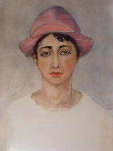 """Malkursbild """"Frau mit rosa Hut"""", Pastellkreide"""