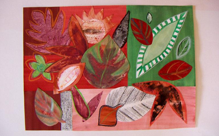"""""""Blätter"""", Collage aus gemalten und gezeichneten Blättern"""