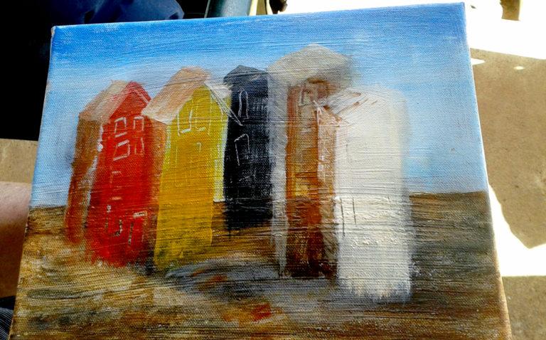 """Malkursbild """"5 Häuser"""", Ölfarbe"""