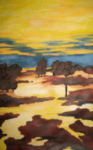 """Das Bild """"Landschaft Es Trenc"""", eine Landschaftsstudie mit Aquarellfarben"""