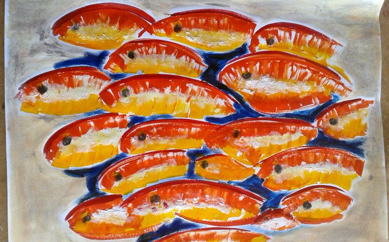 """Das Bild """"Rotgelber Fischschwarm"""", Acrylfarbe"""